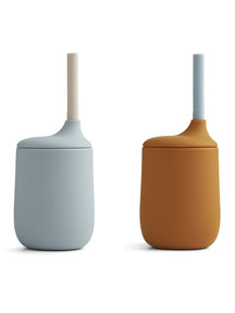 Liewood Ellis sippy cup with straw 2 - pack - mustard/blue
