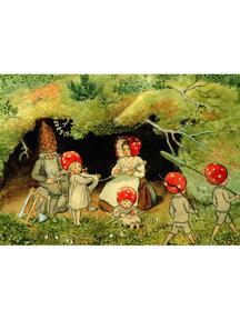 Elsa Beskow Elsa Beskow Postcard - Children of the Forest at Home