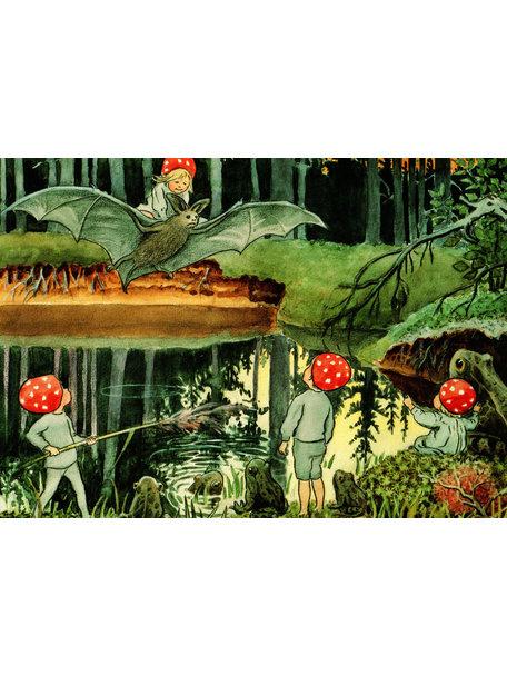 Elsa Beskow Elsa Beskow Postcard - Children of the Forest and the Bat