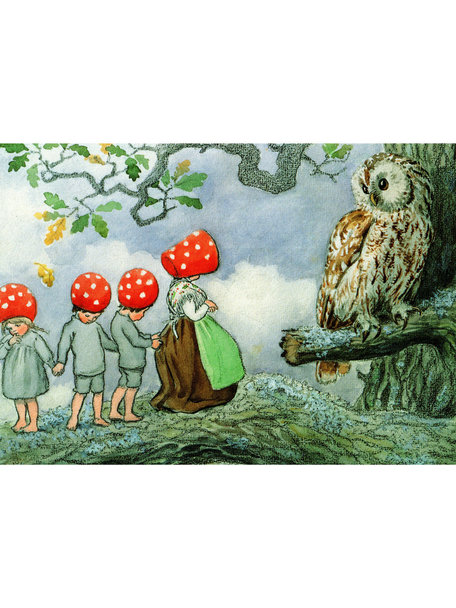 Elsa Beskow Elsa Beskow Postcard - Children of the Forest and the Owl