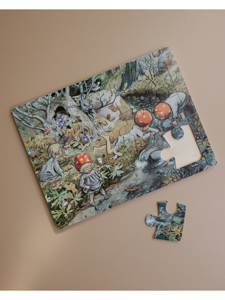Elsa Beskow Elsa Beskow Wooden puzzle - Children of the Forest by the Creek