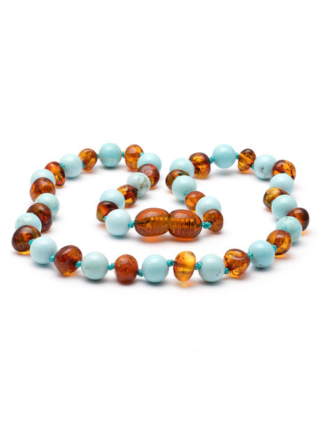Amber Amber Baby Necklace with Gemstones 32 cm - Turquoise/Cognac