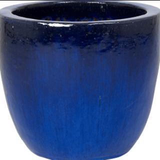 Blauwe bloempot