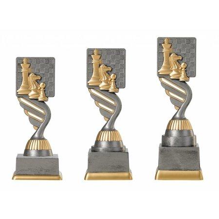 Schaak trofee antiek grijs-goud