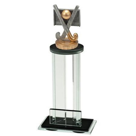 Glas trofee met sportbeeld