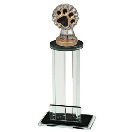 Glas trofee met sportbeeld hondenpoot