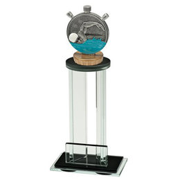 Glazen trofee met sportbeeldje zwemmen