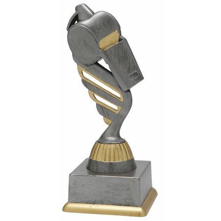 Scheidsrechtersfluit trofee antiek grijs-goud