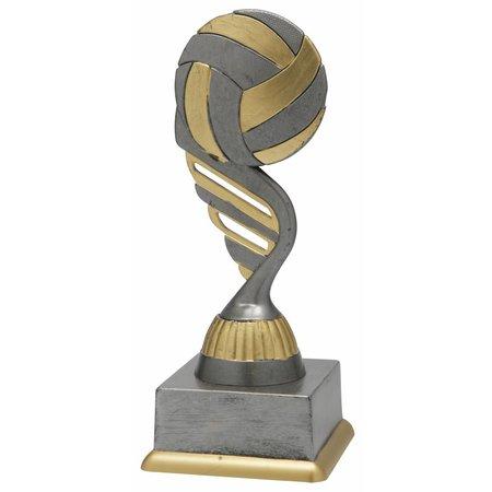 Volleybal trofee antiek grijs-goud