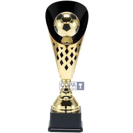 Voetbalbeker met bal metaal  Goud