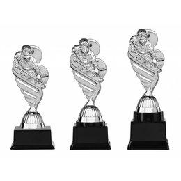 Biljart trofee  zilver 15.5cm t/m 18.5cm