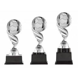 Voetbal trofee zilver 15.5cm t/m 18.5cm