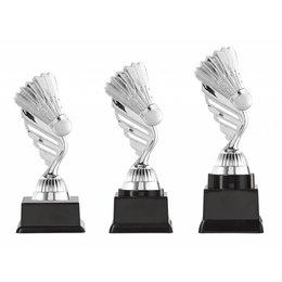 Badminton trofee  zilver 15.5cm t/m 18.5cm