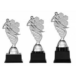 Ski trofee  zilver 15.5cm t/m 18.5cm