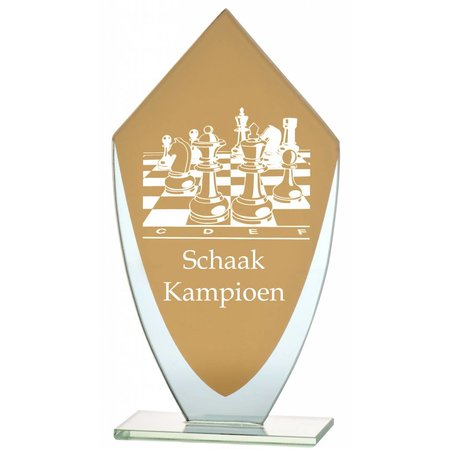 Glazen trofee met goud en Transparant