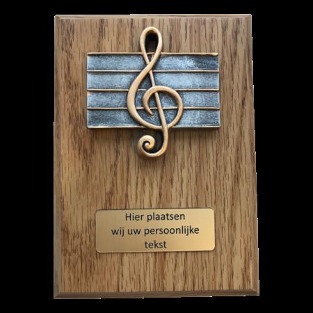 Houten plaquette Muzieknoot