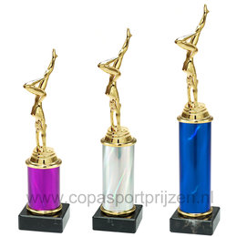 Trofee met turnster 3 maten en kleuren
