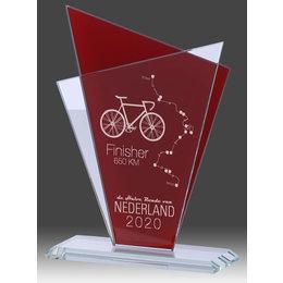 Glas trofee Rood/stransparant