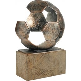 Luxe Voetbal trofee metaal 30cm