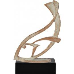 Vis trofee metaal op houten voet