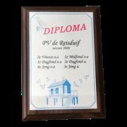 Diploma met kleuren opdruk