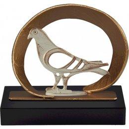 Duif trofee metaal op houten voet