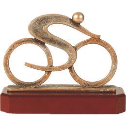 Figuur wielrenner metaal op houten voet