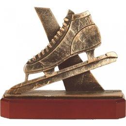 Schaats trofee metaal op houten voet