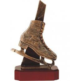 Kunstschaats trofee metaal op houten voet