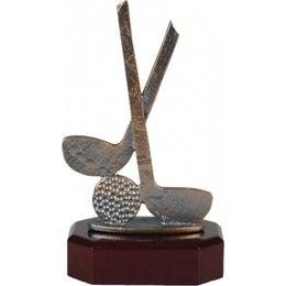 Golf beeld metaal op houten voet