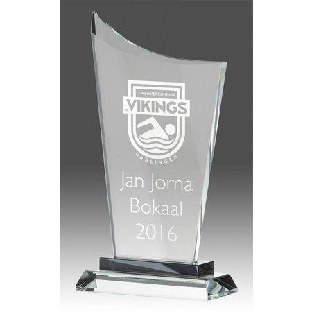 Glazen standaard trofee incl. giftbox en gravure