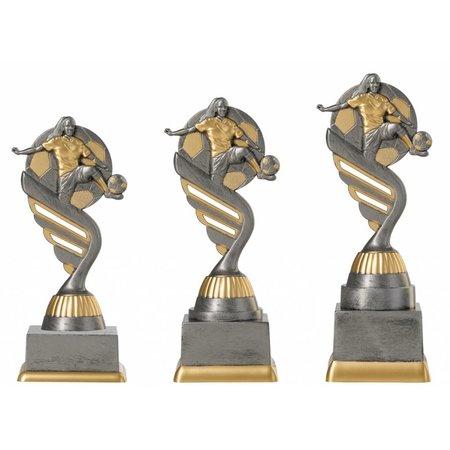 Voetbal trofee dames antiek grijs-goud