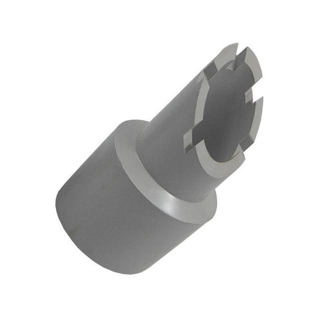 Mondstuk stofzuigerslang 50,8mm met kartelrand grijs