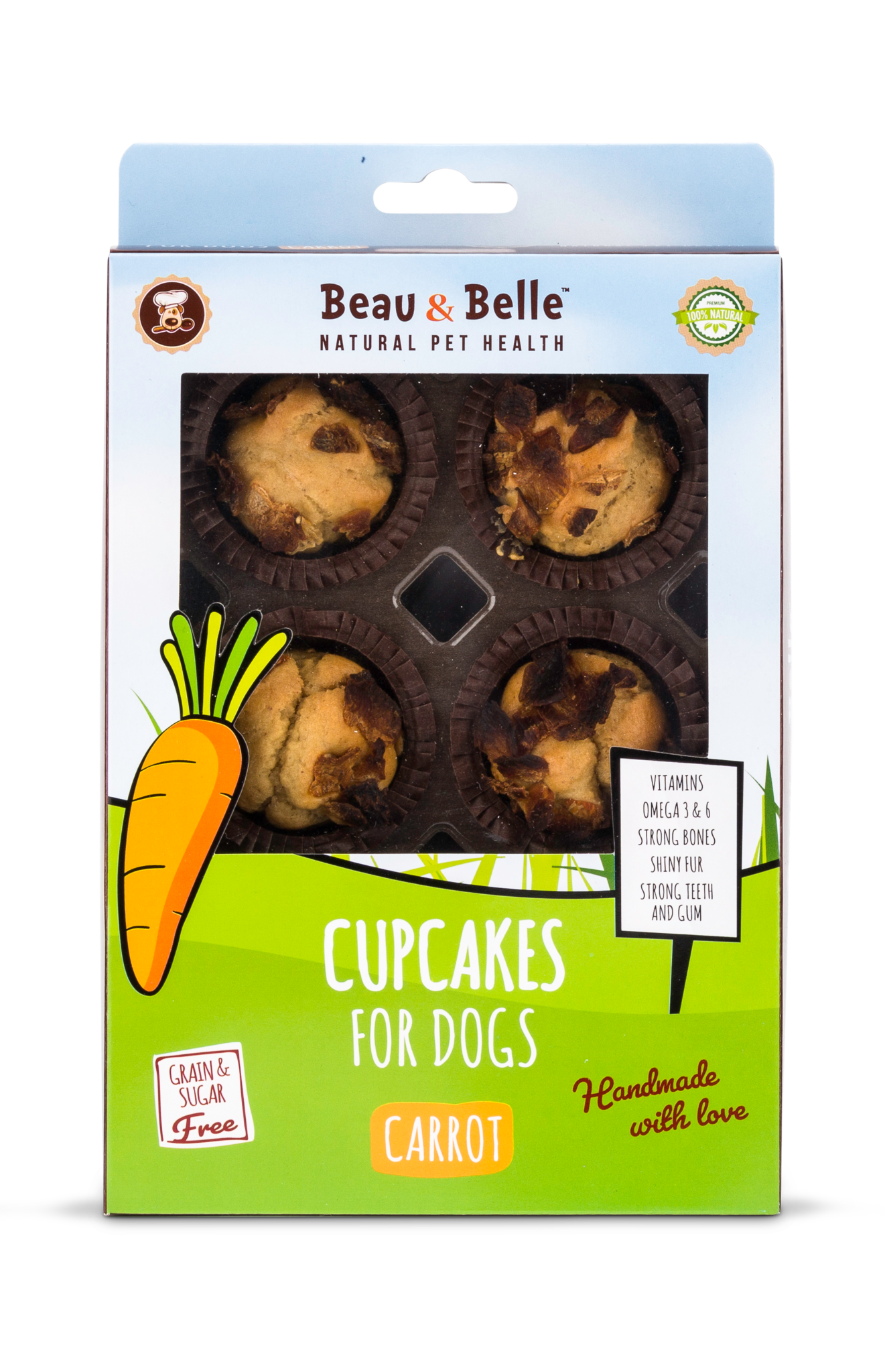 Beau & Belle Cupcakes for dogs met wortel