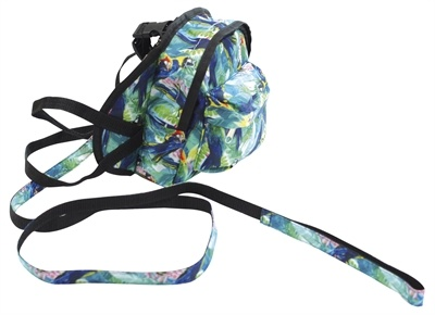 Croci Croci hondentuig / rugzak papegaaien print groen / blauw