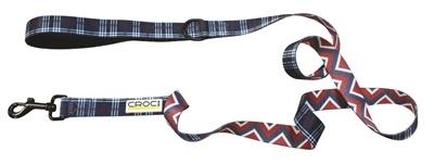 Croci Croci hondenriem cambridge tweezijdig ruit / visgraat blauw / rood