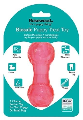 Biosafe Biosafe puppy snack dumbell roze