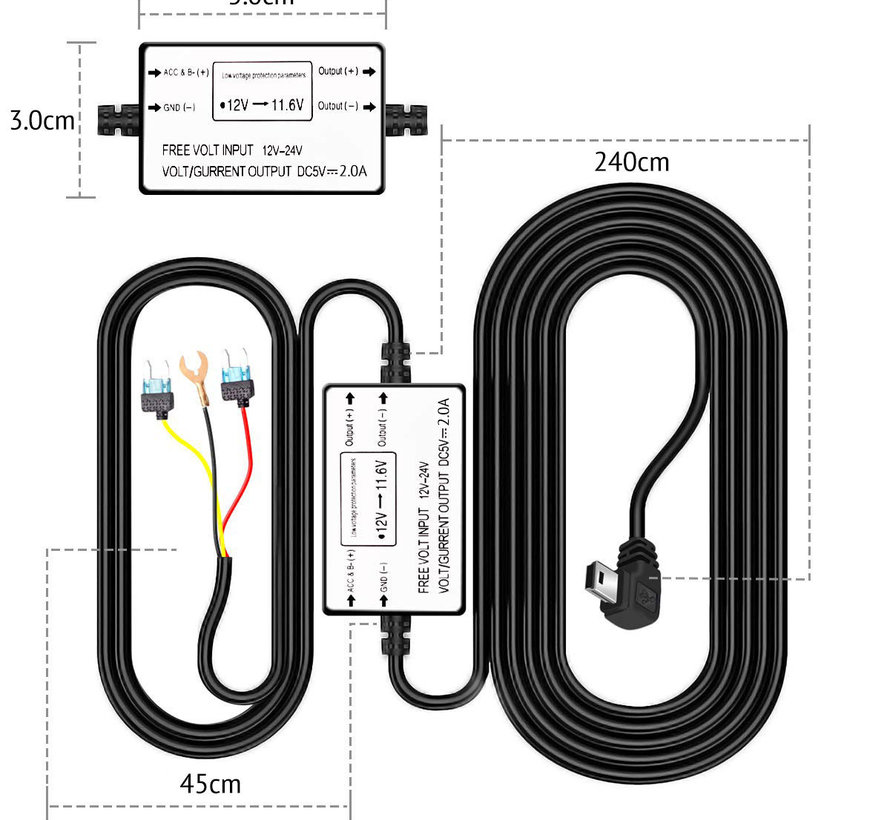 AZDome Continue voeding Mini USB 3-draads