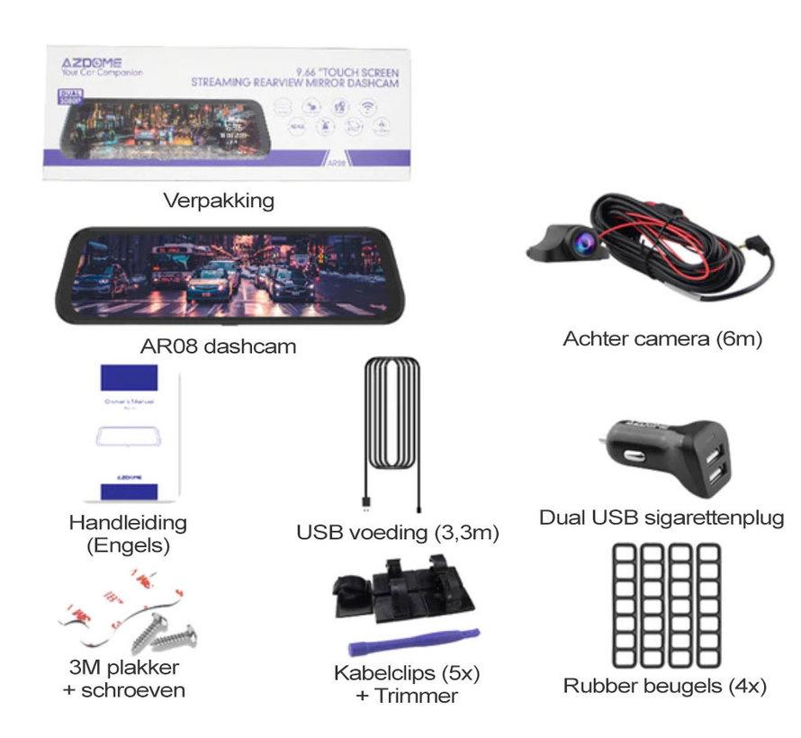 AZDome AR08 2CH Full Mirror dashcam - GPS - Continue voeding