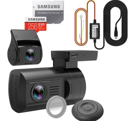 Mini Mini 0906 4K 2CH Dual GPS dashcam - Continue voeding - 256gb