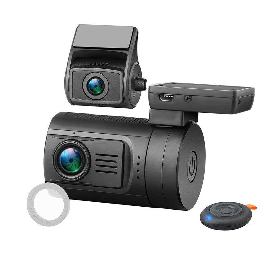 Mini 0906 4K Wifi 2CH Dual GPS dashcam - Continue voeding - 256gb