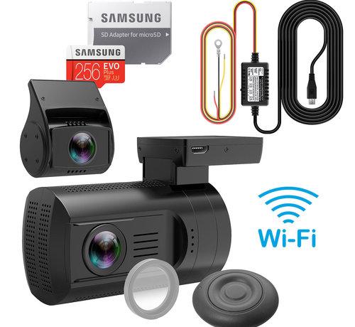 Mini Mini 0906 4K Wifi 2CH Dual GPS dashcam - Continue voeding - 256gb