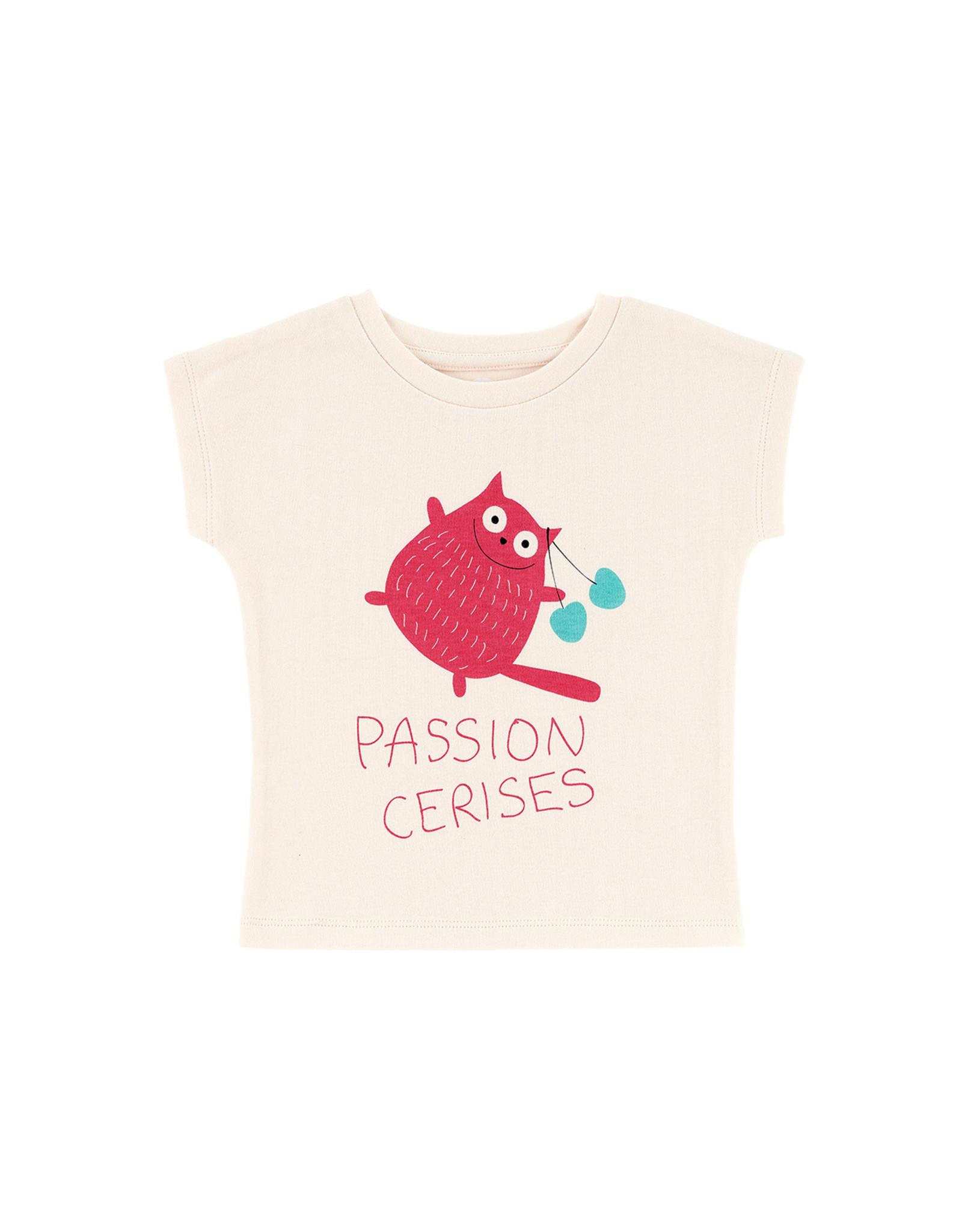 La Queue Du Chat T-shirt crème passion cerises- LQDC