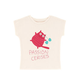 La Queue Du Chat T-shirt crème passion cerises- LQDC