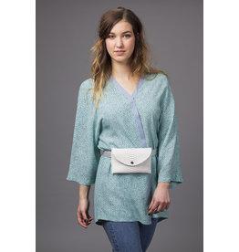 Louisa Jade kimono turquoise à pois
