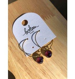 Bohm boucles d'oreilles dorées aubergine
