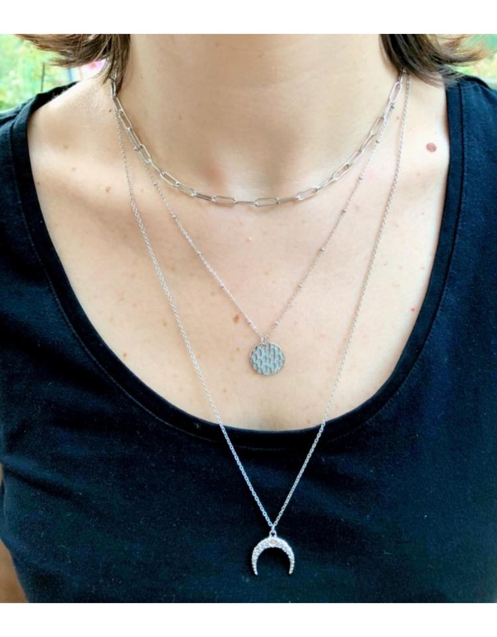 Ikita collier triple argenté «lune»