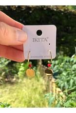 Ikita Boucles d'oreilles dorées et pierres rouge