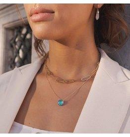 Bohm collier argenté et pierre turquoise