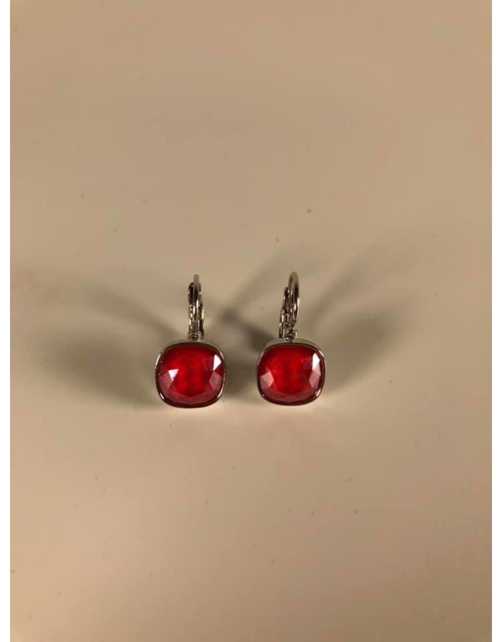 Bohm Boucles d'oreilles argentées rouge